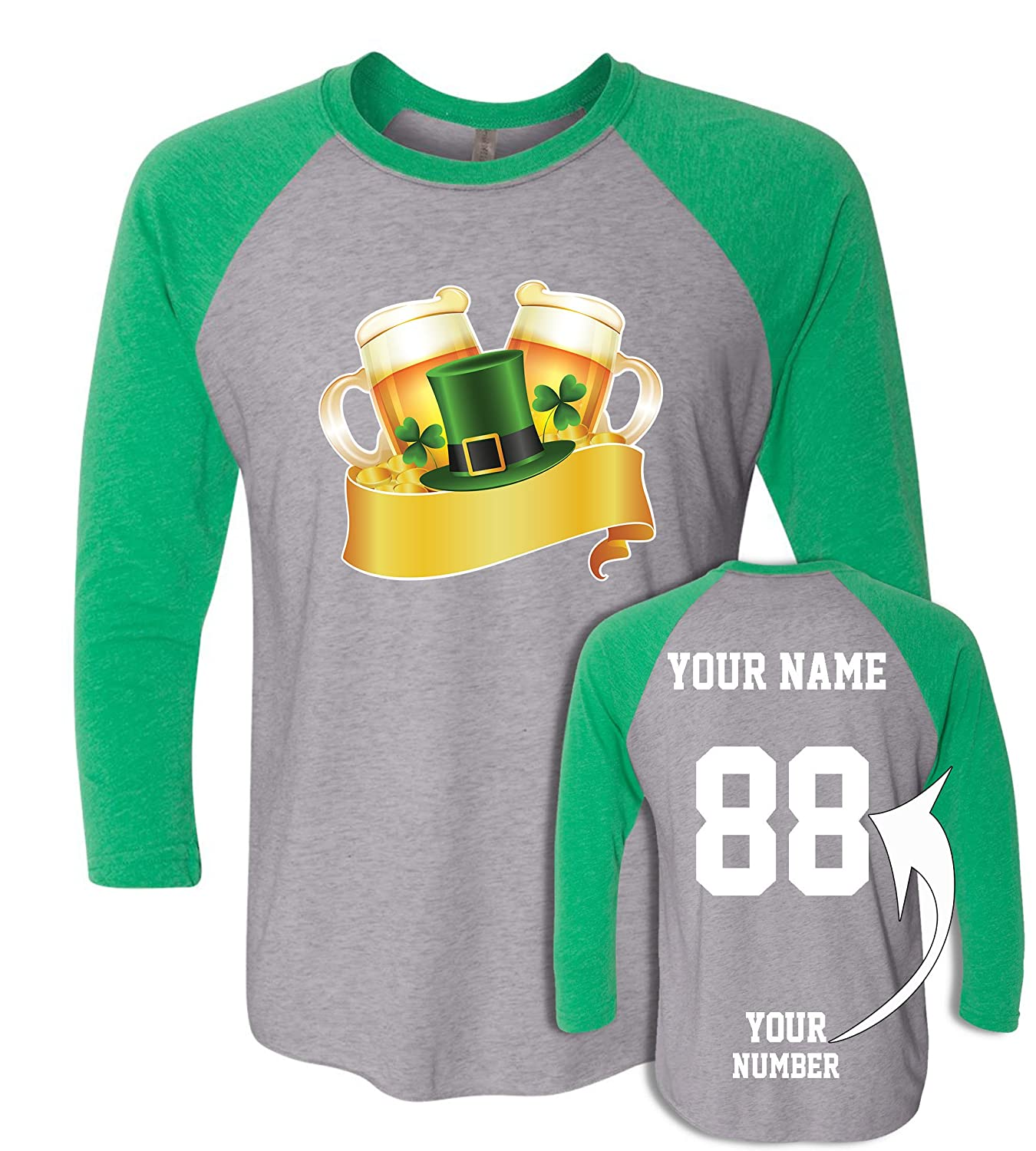 82474e58 50% Polyester/25% Combed Ringspun Cotton/25% Rayon Fabric Made in USA and  Imported DESIGN YOUR OWN St. Patricks Day costume with your name and number