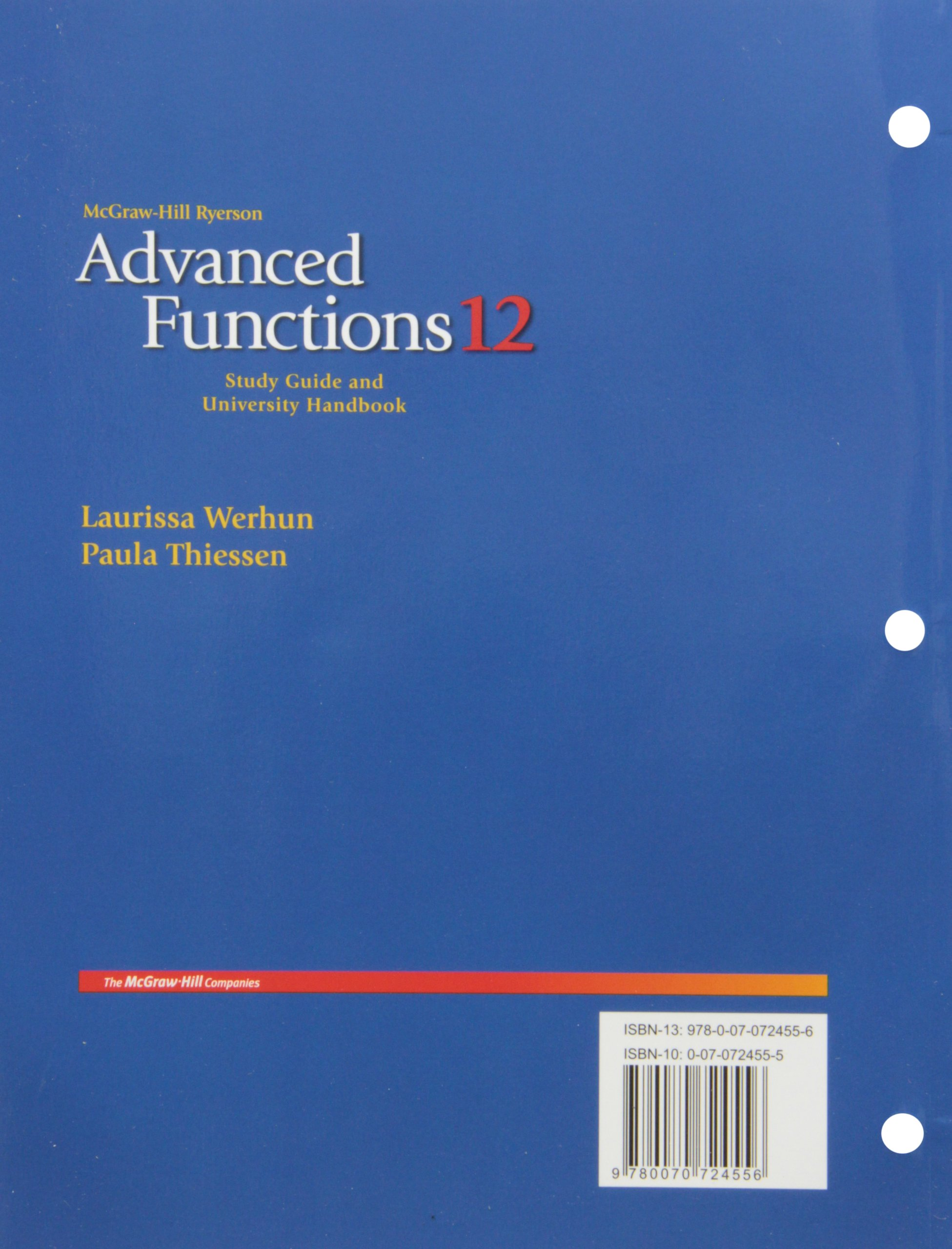 Advanced Functions 12 Study Guide and University (Laurissa werhun):  unknown: 9780070724556: Amazon.com: Books