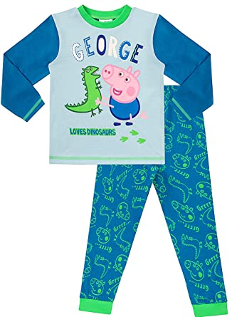 8a1a7d989 Peppa Pig Long Pyjamas George Dinosaur Pig Boys W16 (3-4 Years): Amazon.co. uk: Clothing