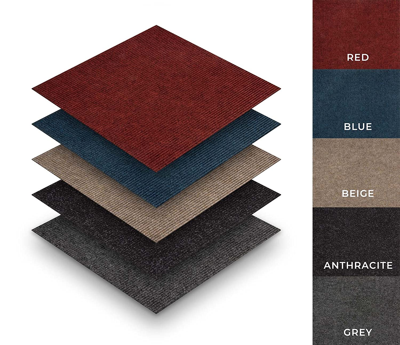 Cheap self adhesive carpet tiles ribbed package deal 20 tiles 5m² colour grey type sample easy diy peel stick installation amazon co uk diy