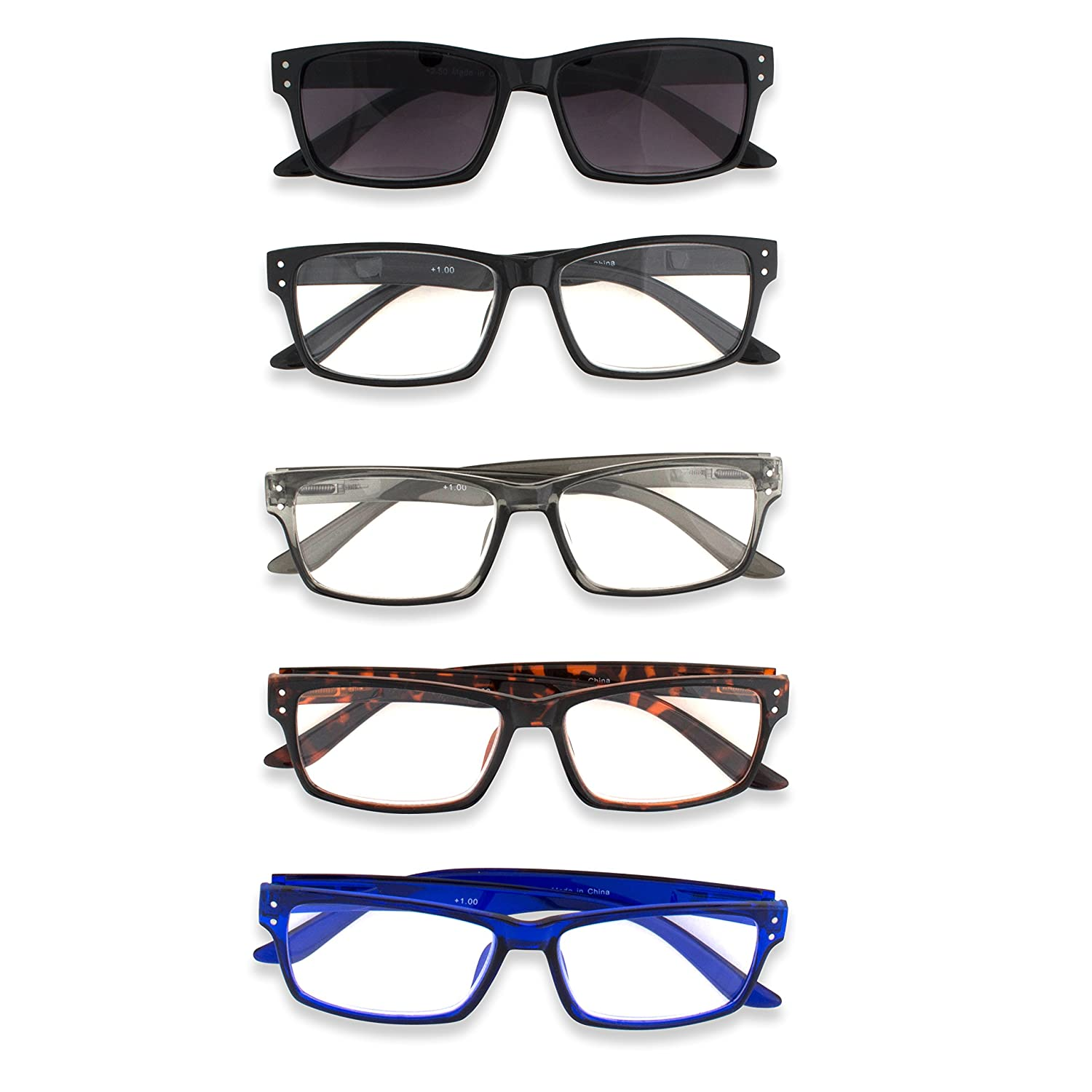 5482ecb45d37 Amazon.com  Inner Vision 5-Pack Reading Glasses Set for Men   Women - (1.25  x Magnification) - Includes  1 Outdoor Reading Sunglasses + 4 Clear Readers   ...