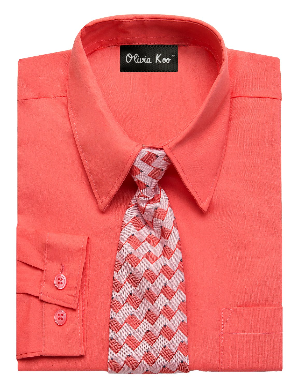 OLIVIA KOO Boys Kids Long Sleeve Solid Color Dress Shirts With Matching Windsor Tie Set,Melon,4T