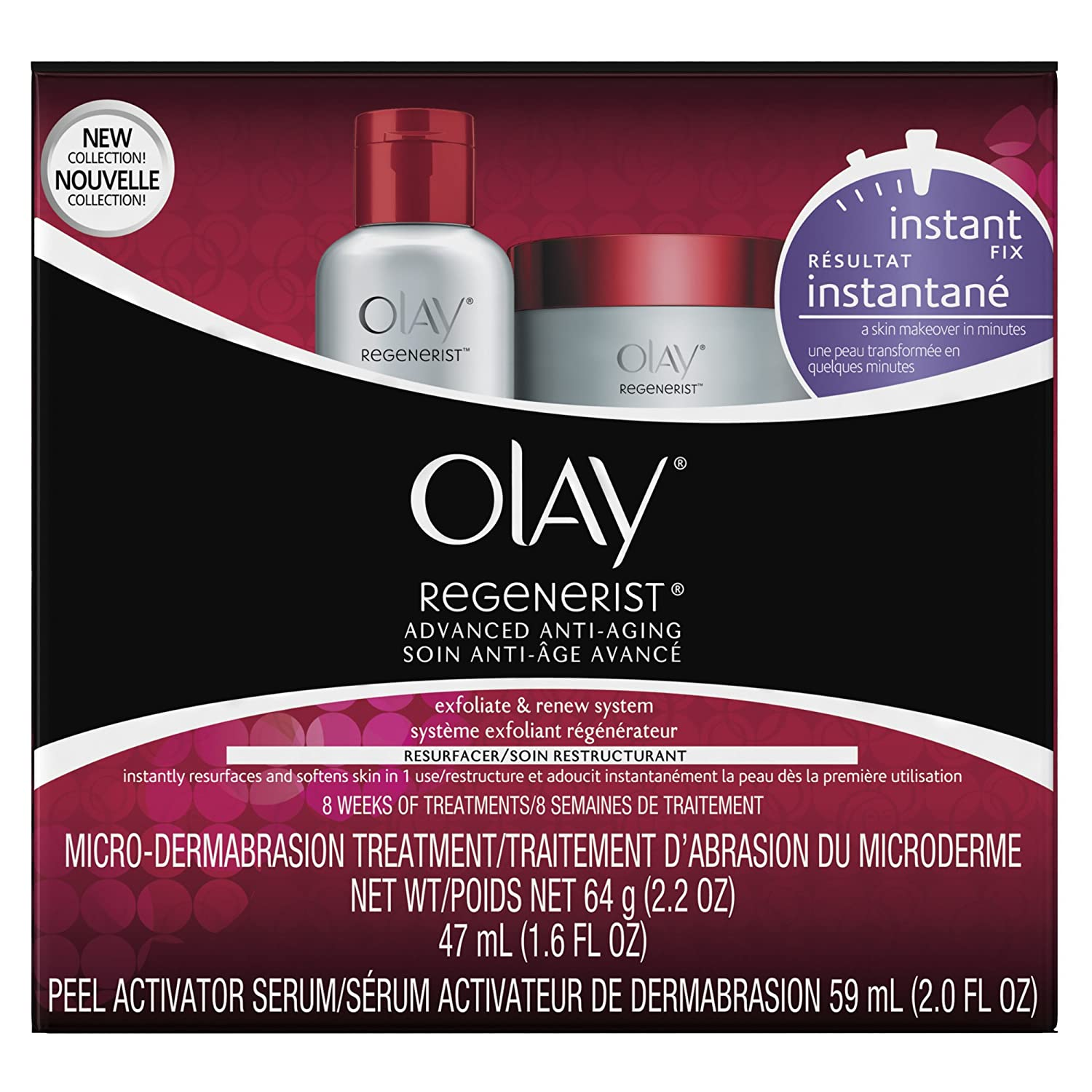 Microdermabrasion Kit by Olay Regenerist, Face Peel & Scrub for Dry Skin, Reduce Wrinkles & Fine Lines, 1 Kit: Beauty