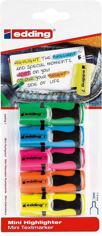 edding 7 mini highlighter - Conjunto de rotuladores fosforescentes (tamaño pequeño, 1-3 mm, en envase transparente separador)