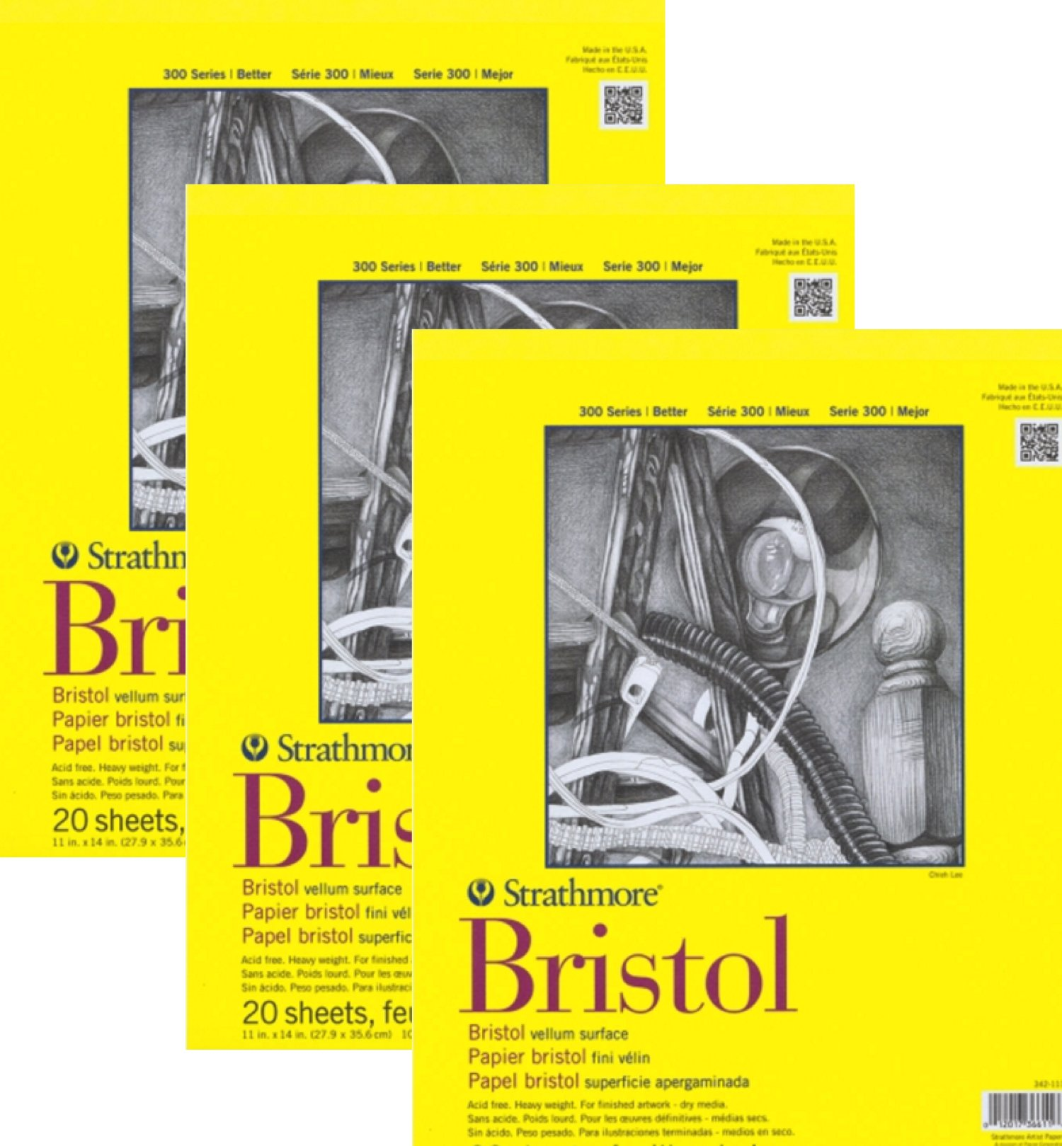 Strathmore 300- Bristol Board - 3 pack Bundle - Vellum Paper Pad - 9 x 12 - 20 Sheets Each Pad