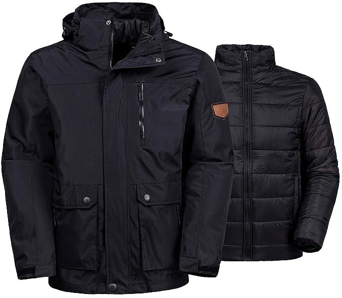 2f1b3e0ca Wantdo Men's 3-in-1 Ski Jacket Interchange Snow Coat Waterproof Removable  Liner
