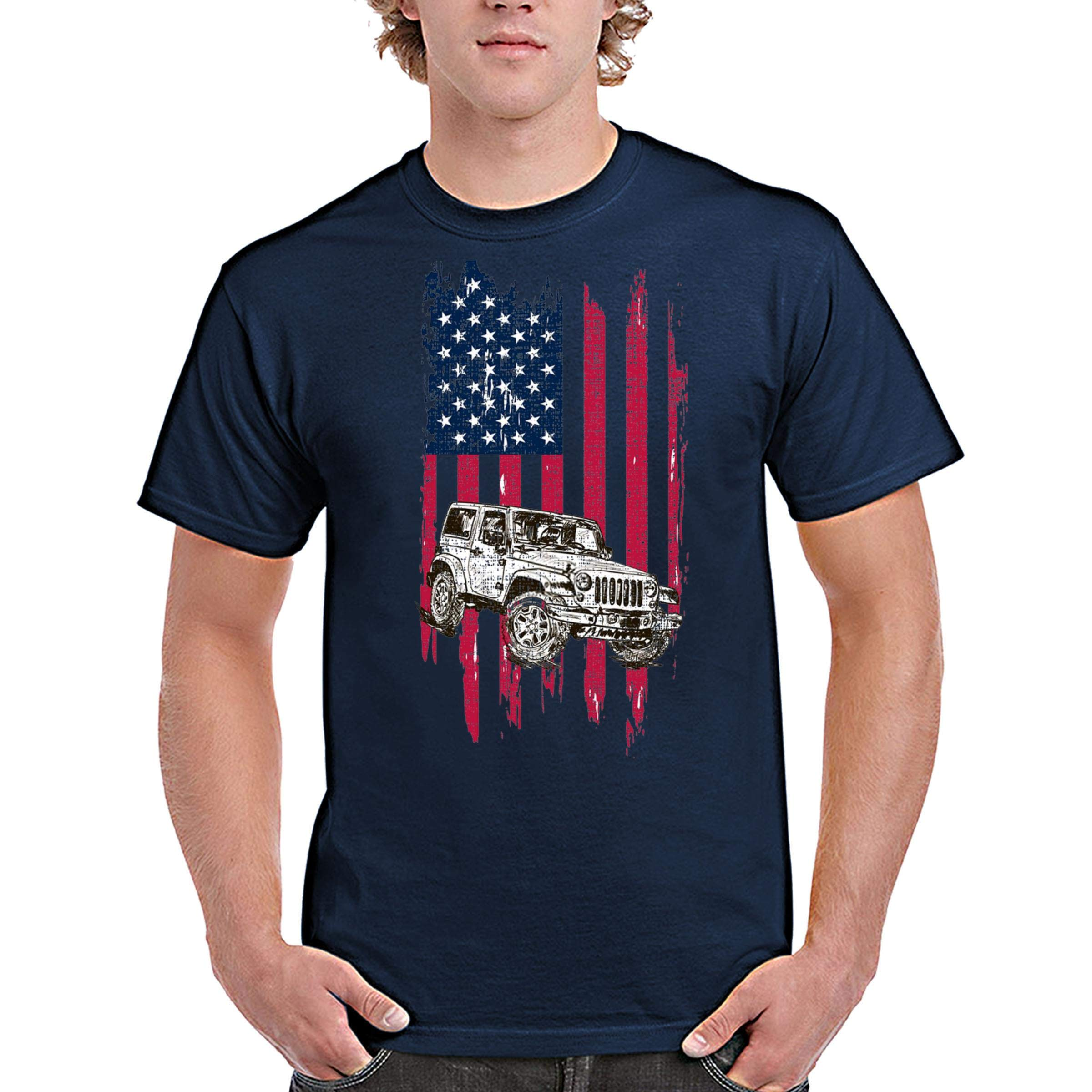 zipstore Vintage Flag Jeep T-Shirt for Men Women Love Jeep Car Proud of American
