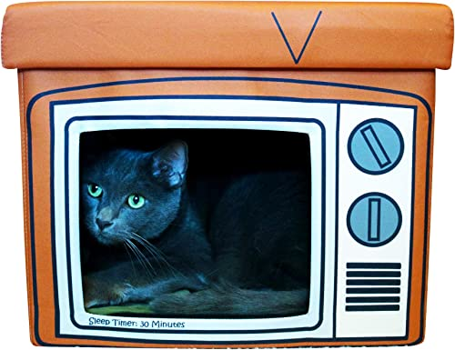 Feline Ruff TV Indoor Cat House Ottoman. A Sturdy Couch Paw-tato Cat Cube Bed with Cushion. Covered Pet Bed Hideaway Cave for Dogs and Other Pets Too.