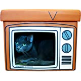 Feline Ruff TV Indoor Cat House Ottoman. A Sturdy Couch Paw-tato Cat Cube with Cushion. Covered Pet Bed Hideaway Cave for Dogs and Other Pets Too.