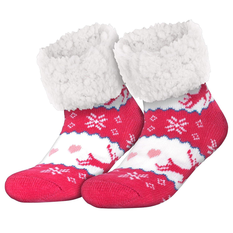Compagno Morbidi calzettoni con suola in ABS antiscivolo Calzettoni invernali Calzettoni per donna uomo 1 paio misura unica Colore:Rentier 1 Pink