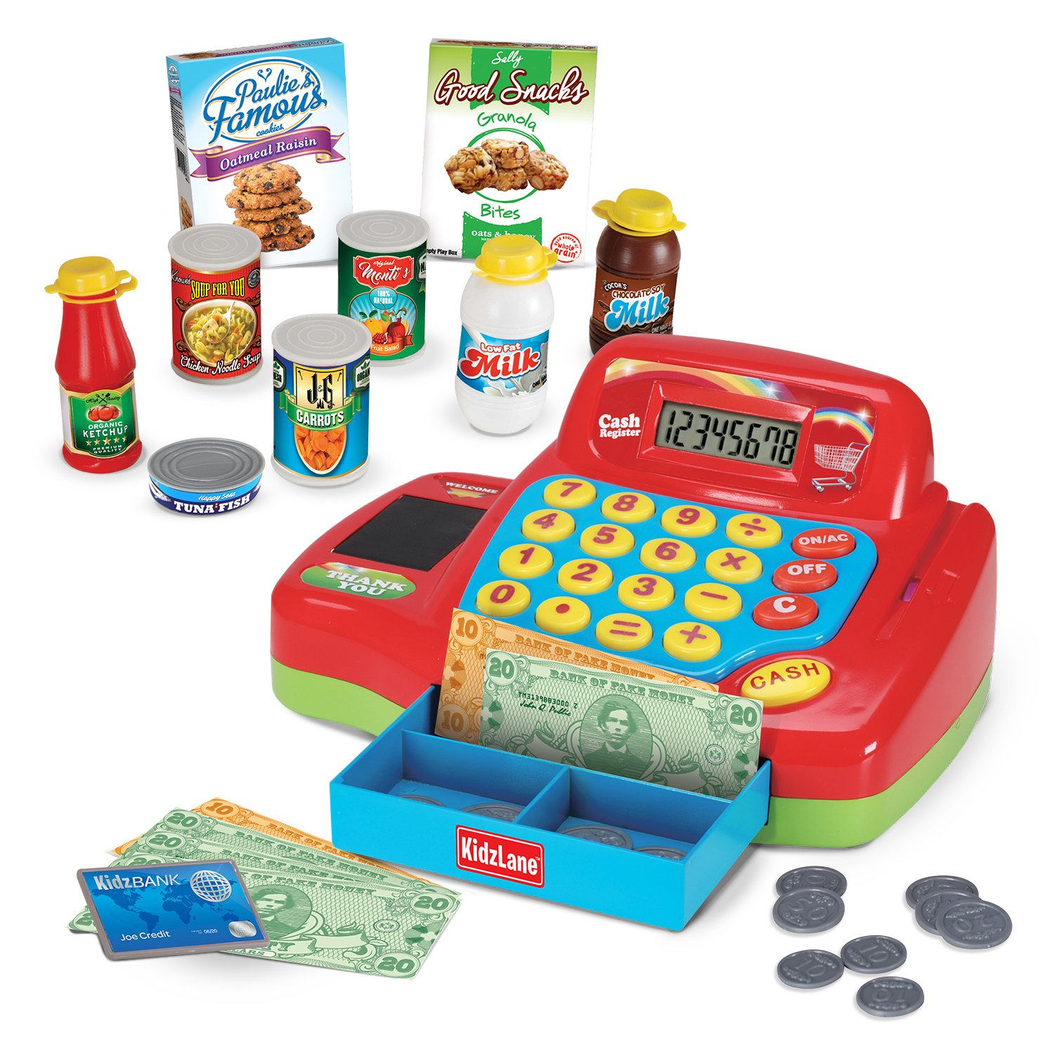 Kidzlane Electronic Toy Cash Register for Kids - 20+ Realistic Pieces Interactive Pretend Playset
