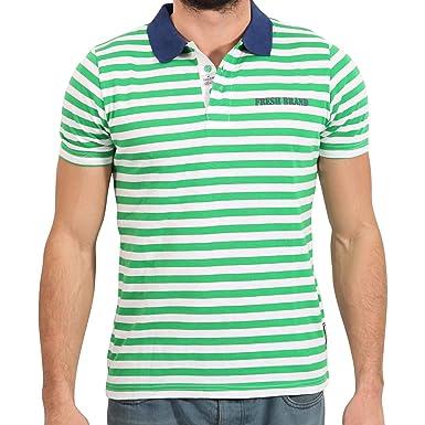 The Fresh Brand - Polo - Rayas - para hombre verde Large: Amazon ...