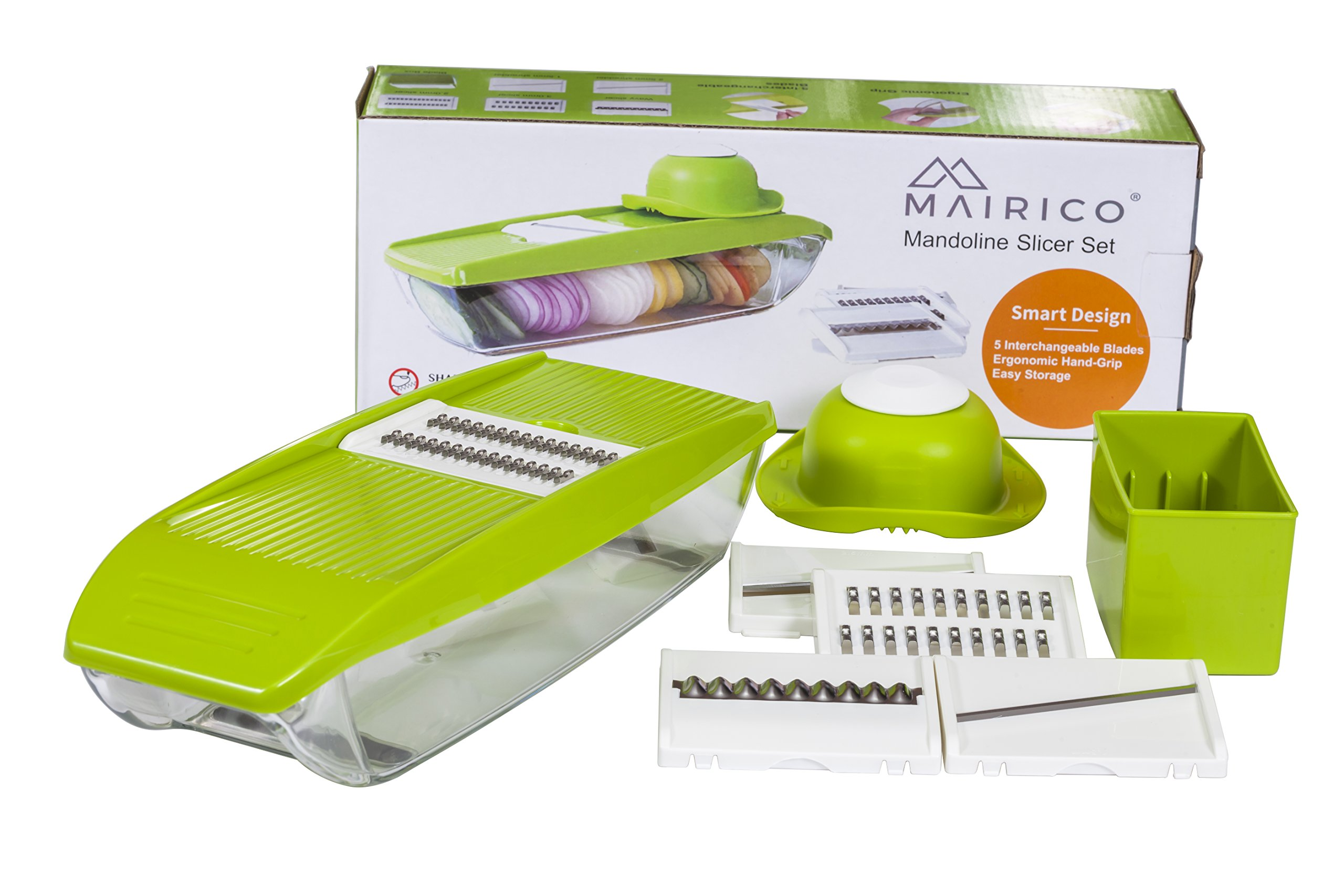 MAIRICO Mandoline Slicer with Container - Premium Julienne Vegetable Slicer with 5 Ultra Sharp Interchangeable Stainless Steel Blades and Hand Guard