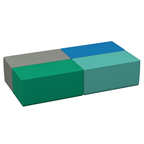 FDP SoftScape 18 x 36 Rectangle Ottoman, Collaborative Flexible Seating for Kids, Teens, Adults, Furniture for Classrooms, Offices and in-Home Learning, Standard 16 H, 4-Piece Set – Contemporary