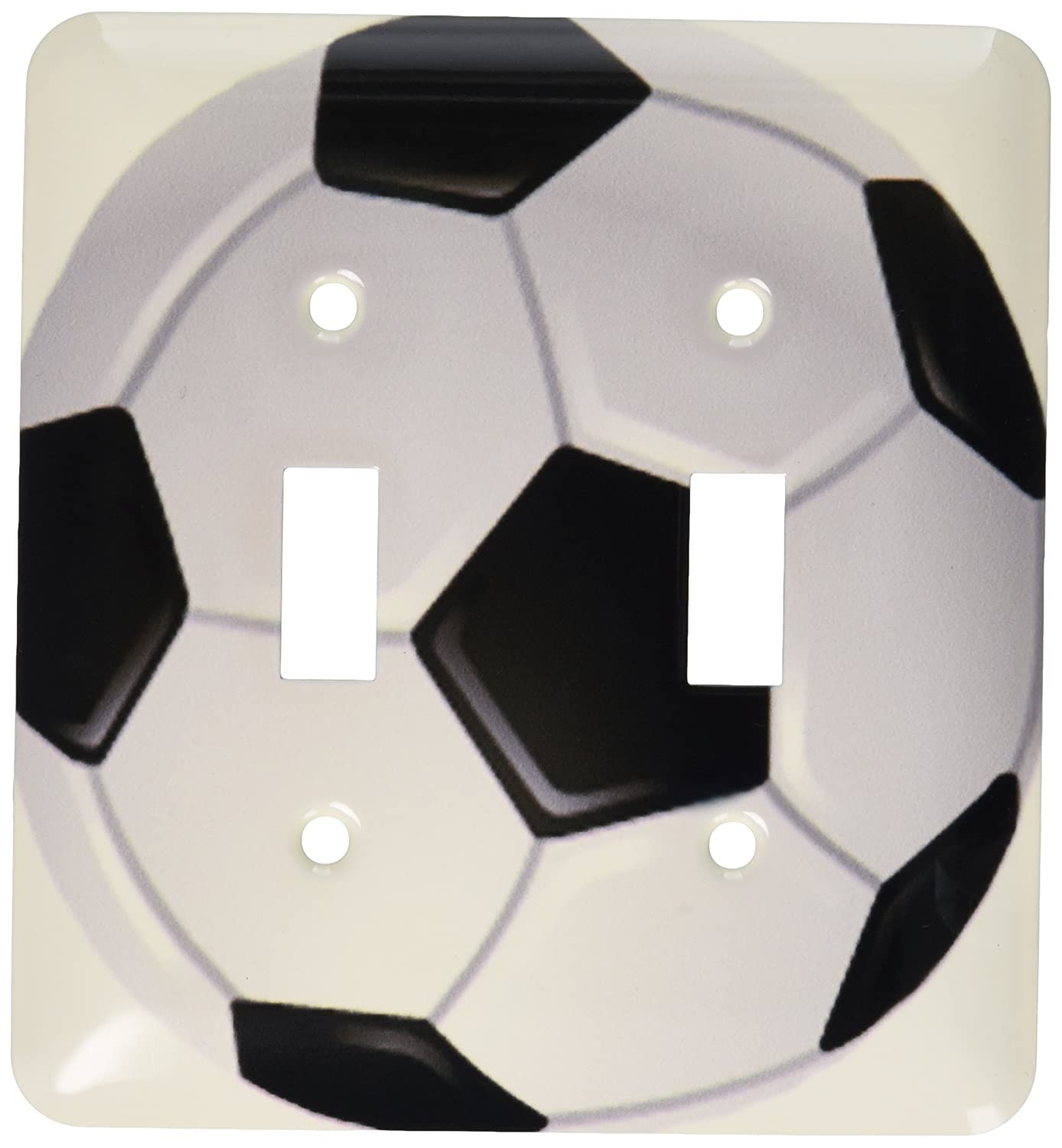 3dRose lsp/_6254/_2 Soccer Ball Double Toggle Switch Multicolored