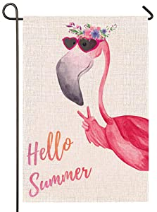 Atenia Burlap Garden Flag, Hello Summer Flamingo Double Sided Garden Outdoor Yard Flags for Summer Decor