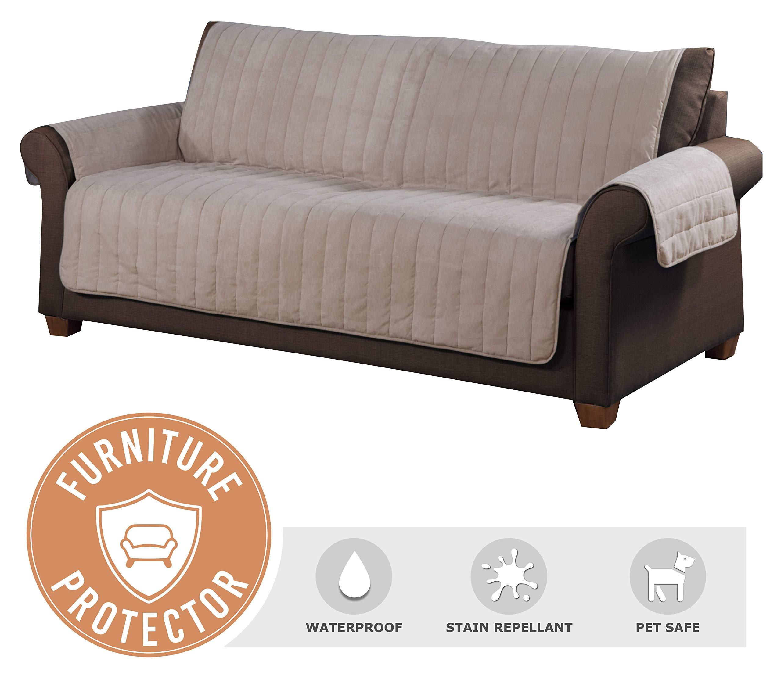 Tailor Fit Microsuede Loveseat Furniture Protector, Pet Safe, Stain Repellant & Waterproof (Tan)