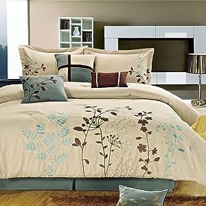 Bliss Garden Beige Comforter Bed In A Bag Set - Queen 8 Piece