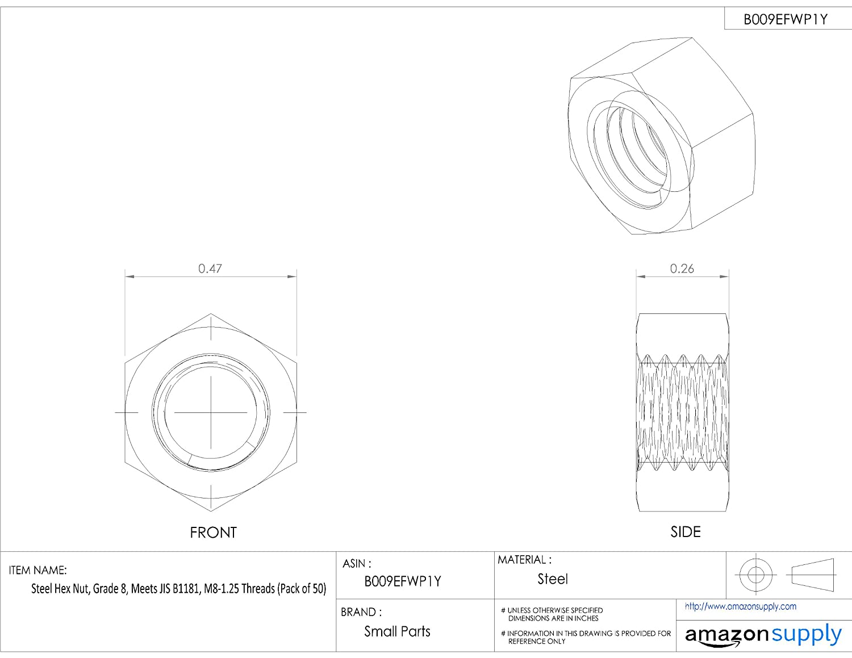 Steel Hex Nut, Zinc Plated Finish, Class 8, JIS B1181, M8-1 25 Thread Size,  12 mm Width Across Flats, 6 5 mm Thick (Pack of 50)