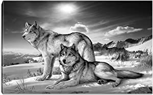 Wolf on Snow Mountain Canvas Print Wall Art Black and White Animal Painting Picture Stretched and Framed for Living Room Bedroom Bathroom Office Decor (Black and White7)
