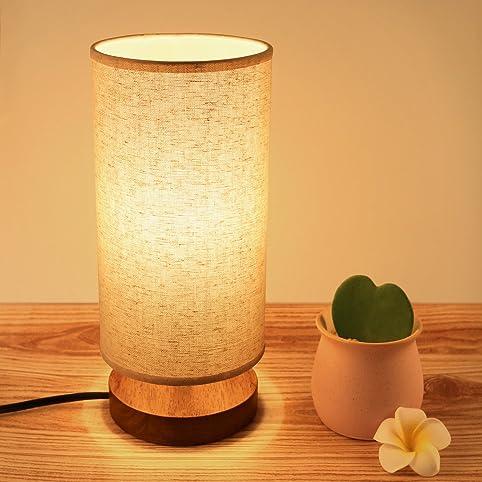 Bedside Table Lamp, Seealle Solid Wood Table Lamp, Bedside Desk Lamp,  Minimalist Round