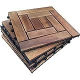 6 X Intrecciati In Legno Da Esterni In Legno Di Acacia, 5-10 Piastrelle, Slat Tile., Giardino, Patio, Terrazza, Hot Tub. Piano Quadrato, 30 Cm, Motivo: Piastrelle