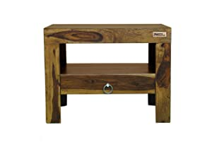 Meera Handicraft Sheesham Wood One Drawer Bedside End Table for Living Room   Provincial Teak Finish