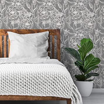 Flipside Neutral Gray Floral Peel And Stick Removable Wallpaper Each Roll Is 18 Ft Long X 18 In Wide Safe For Walls Easy To Apply Extremely Easy To Remove Amazon Com