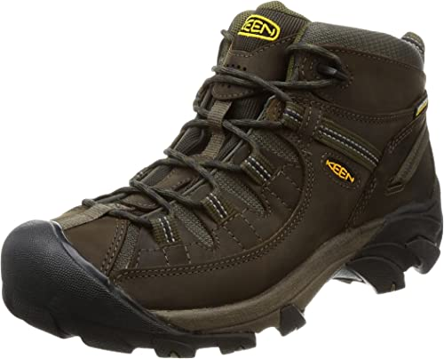 KEEN Men's Targhee II Mid Waterproof Hiking Boots in Dark Olive color, breathable, 100% Nubuck leather material, rubber sole.