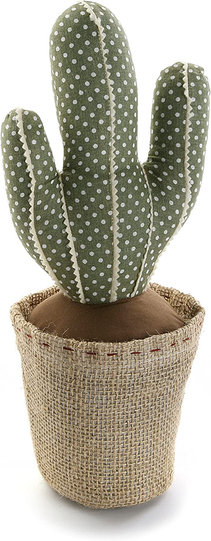 Versa 20270119 Sujetapuertas con diseño Cactus, Madera, Verde, 12.00x12.00x34.00 cm