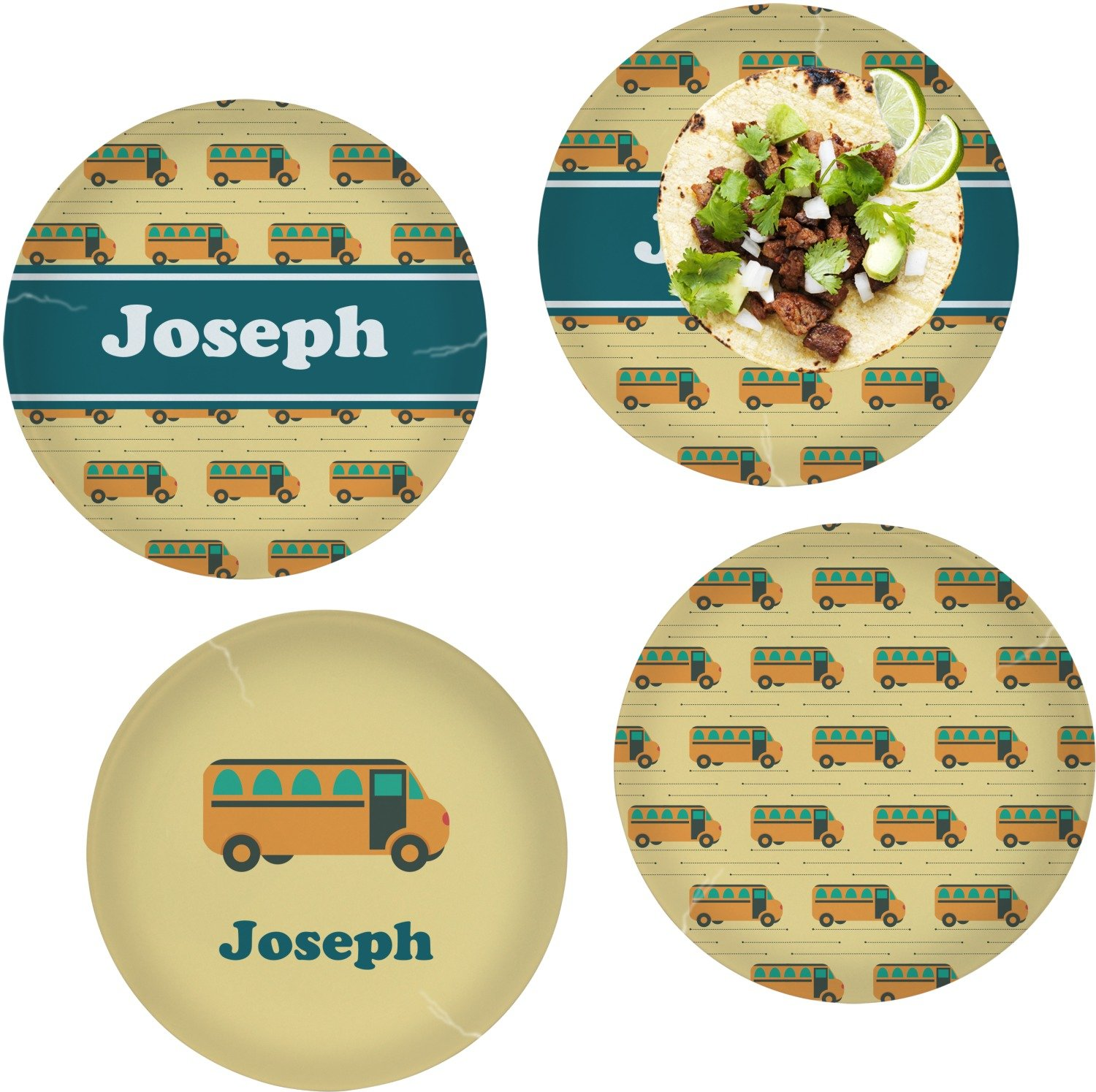 School Bus Set of 4 Lunch / Dinner Plates (Glass) (Personalized)