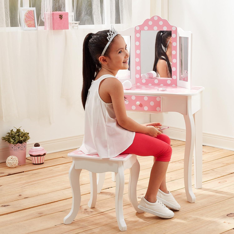 Mesa de tocador rosa de madera con espejo y banqueta de Teamson Kids