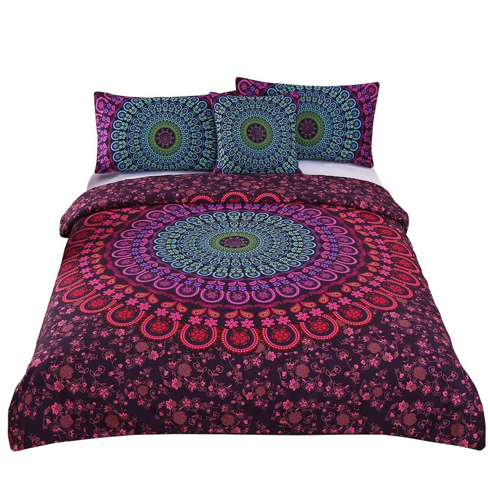 Sleepwish 4 Pcs Bohemian Duvet Covers Mandala Bedding Sets Posture Million Romantic Soft Bedclothes Boho Chic Bedspreads (Twin)