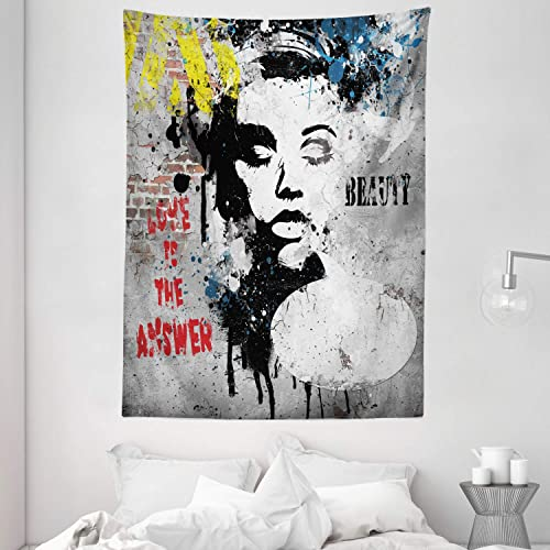 Ambesonne Graffiti Tapestry, Modern and Grunge Wall with a Girl and Words Casual Youth Urban Fashion Print, Wall Hanging for Bedroom Living Room Dorm, 60 X 80 , Yellow Grey