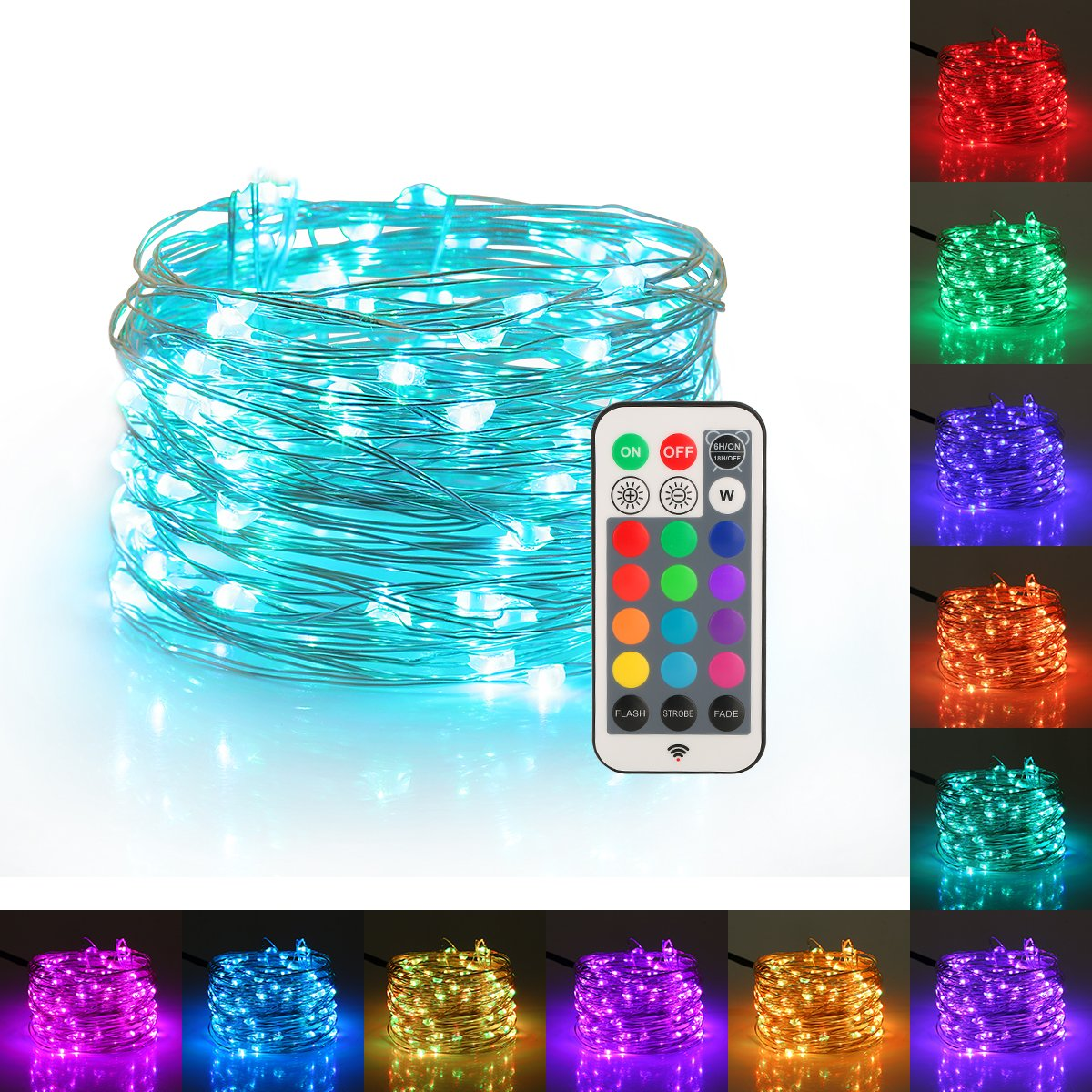 YIHONG Fairy Lights USB Plug-In String Lights With RF Remote 33ft Firefly Twinkle Lights For Bedroom Party Decoration Wedding,13 Vibrant Colors, Fade Flash Strobe Mode