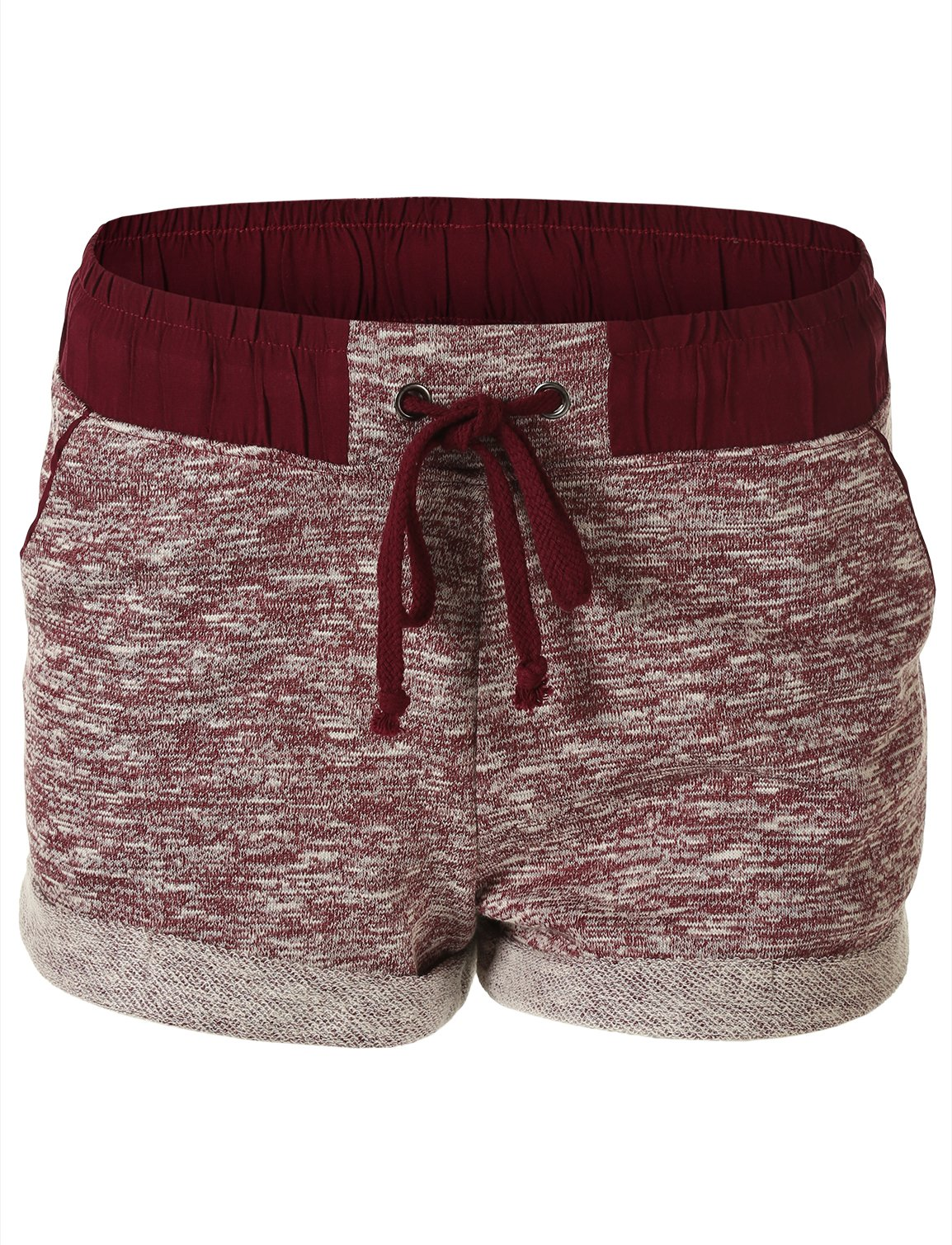 FHnLove Women's Plus Size Marled French Terry Drawstring Cuffed Shorts Burgandy 2XL