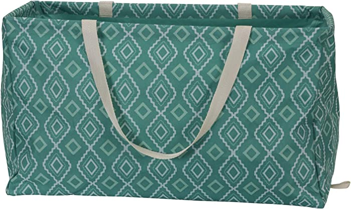 "Household Essentials 2243 Krush Canvas Utility Tote | Reusable Grocery Shopping Laundry Carry Bag | Teal With White Diamonds, 22"" L X 11"" W X 13"" H"