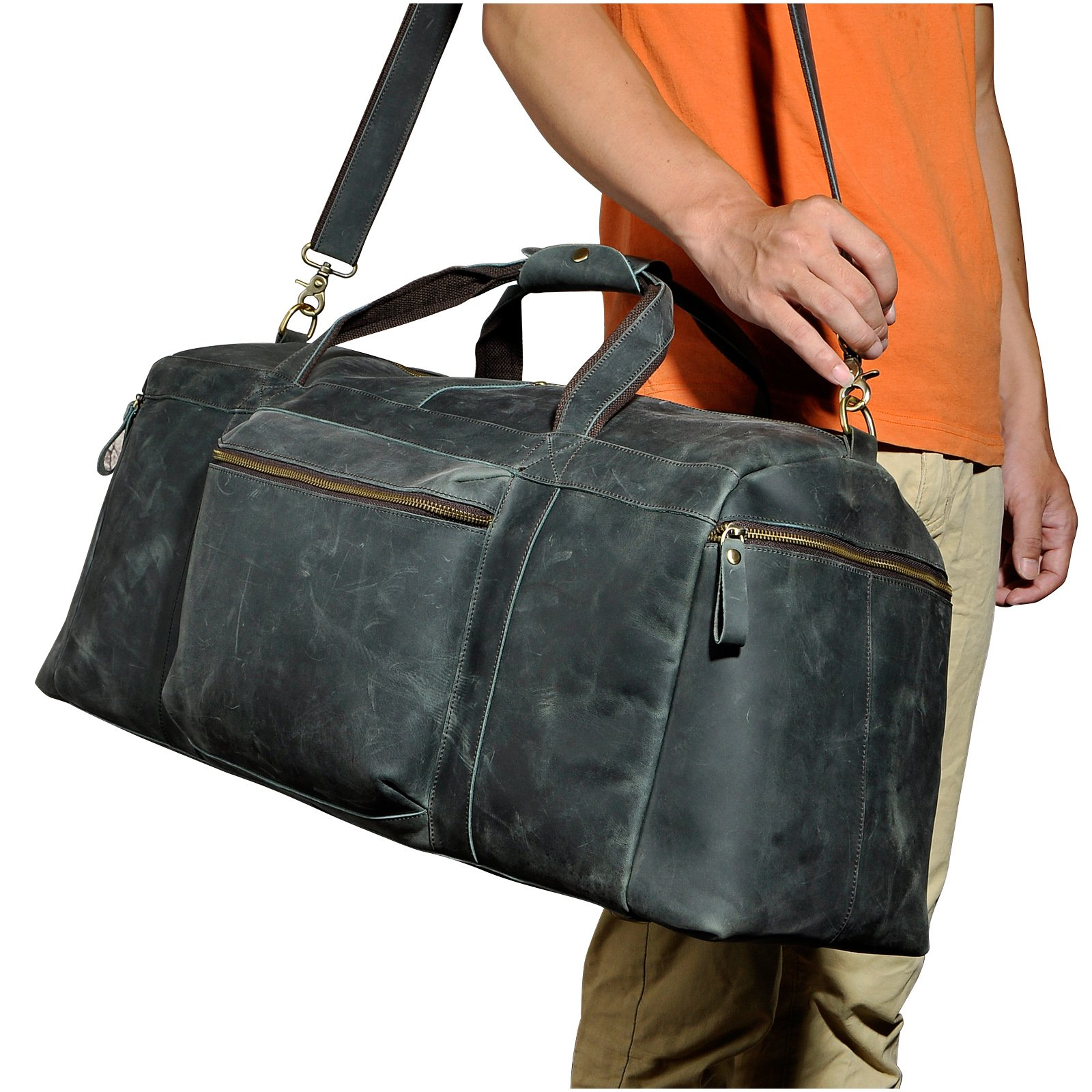 Le'aokuu Mens Genuine Crazy Horse Leather Travel Luggage Duffle Gym Tote Bags (Brown)