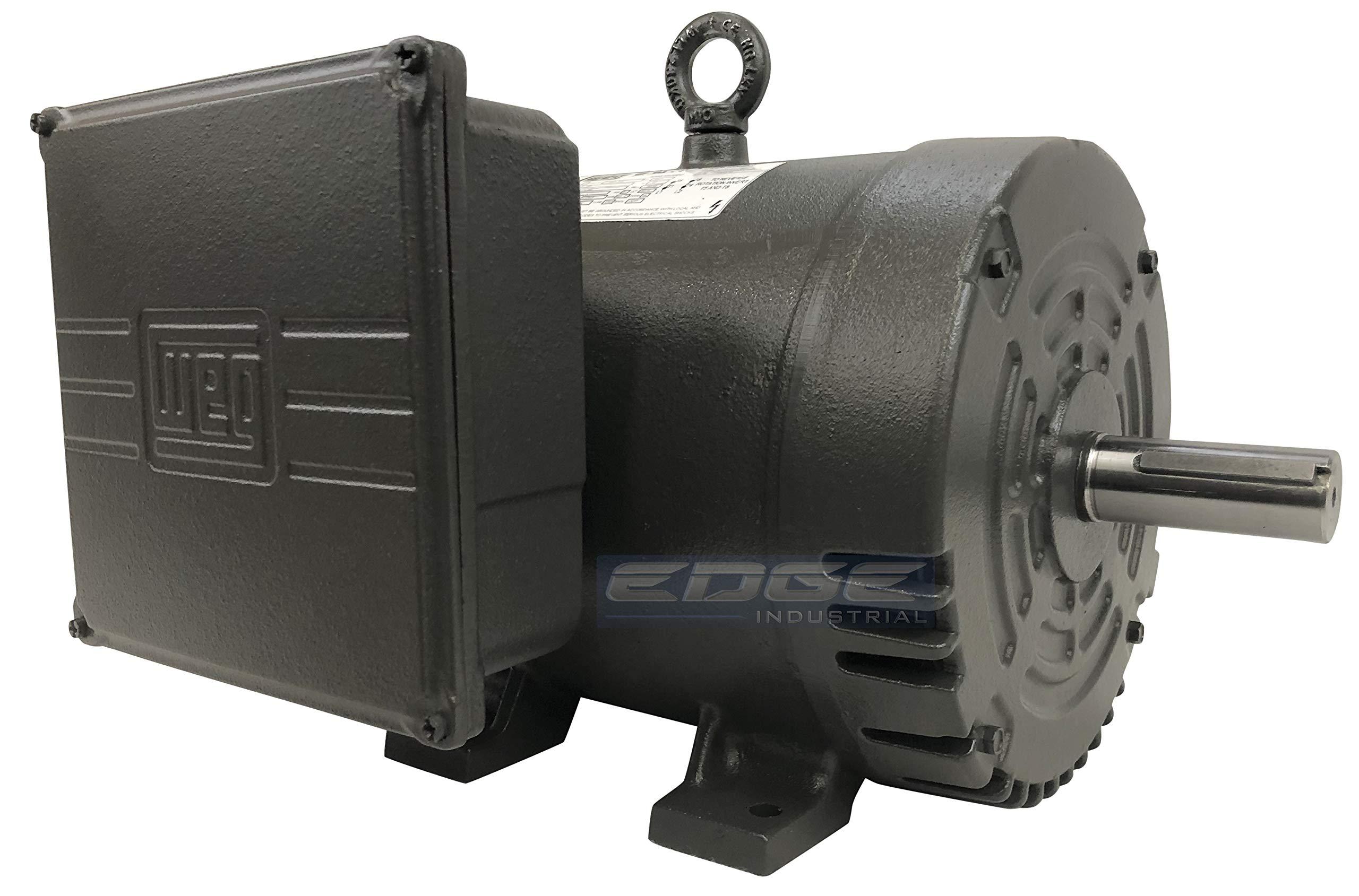NEW WEG 7.5HP HEAVY DUTY AIR COMPRESSOR ELECTRIC MOTOR 3450 RPM, 1 PHASE, 184T FRAME, 230VOLT, CAST IRON FRAME
