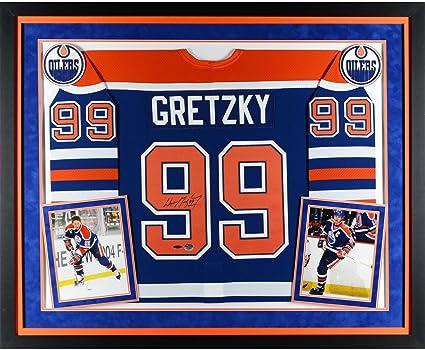c25e9ff1102 Wayne Gretzky Edmonton Oilers Deluxe Framed Autographed Blue CCM Jersey -  Upper Deck - Fanatics Authentic