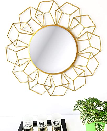 Your Home and Beyond Modern Contemporary 24x2x24 3D Geometrical Shaped Round Gold Metal Wall Hanging Decorative Mirror Addison Collection