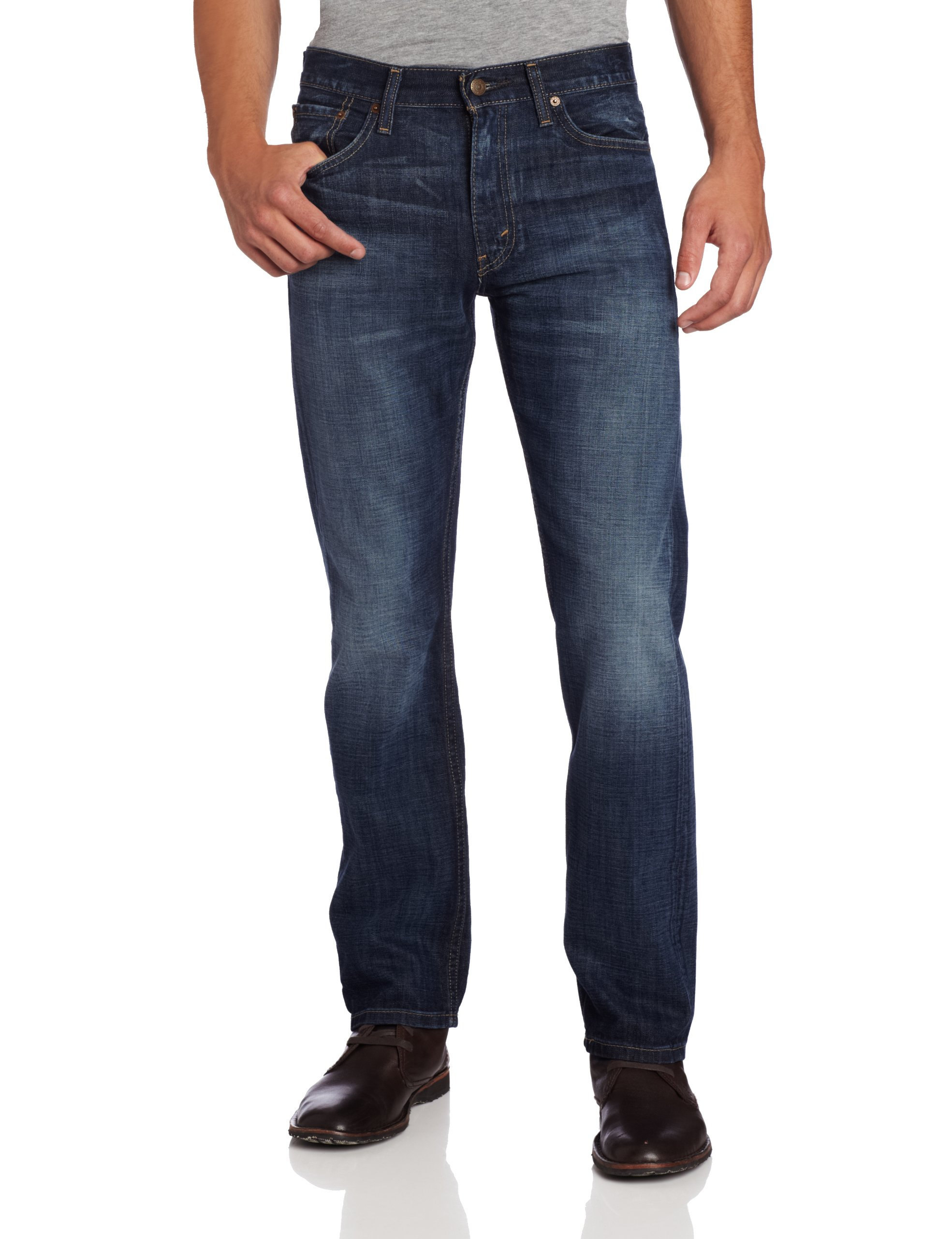 One such style of men's jeans is straight leg jeans. Straight leg jeans are just what they sound like: jeans that are straight from the thigh all the way down to the leg opening. Where skinny jeans and slim fit jeans taper and get narrower around the calves and ankles, straight jeans do not.