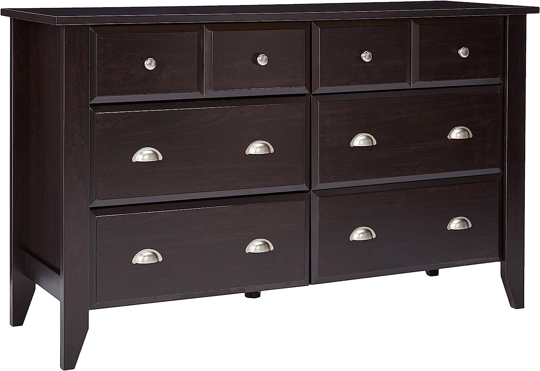 #2. Sauder T-lock wood made double drawer dresser: