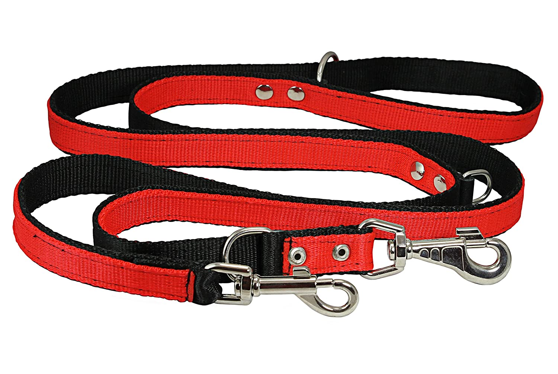 1 Wide 6 Way European Multi-functional Nylon Dog Leash Adjustable Lead Red 40-70 Long