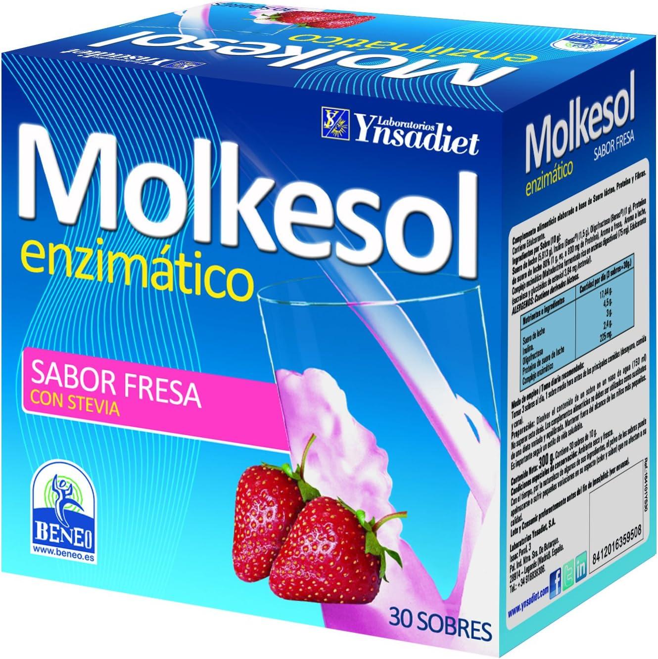 YNSADIET Molkesol Fresa Enzimático con Stevia - 30 Sobres