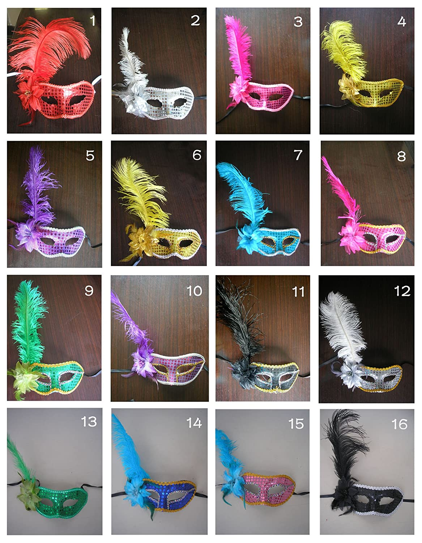 Fantasycart 10PCS Crown Fancy Dress Masquerade Mardi Party Mask Feather