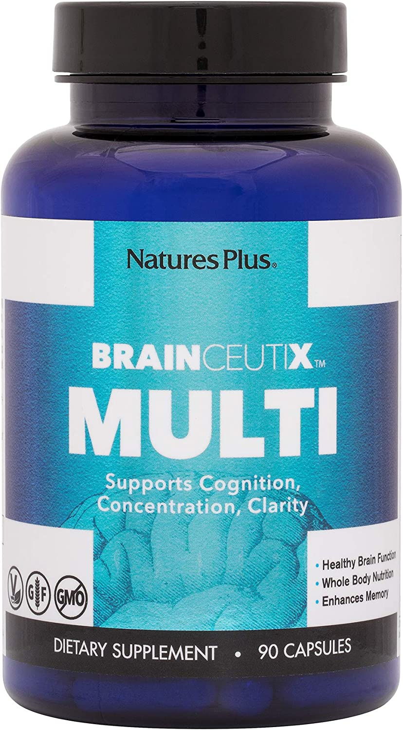 BrainCeutix by NaturesPlus Brain Supplement Nootropic for Memory and Focus, 90 Capsules