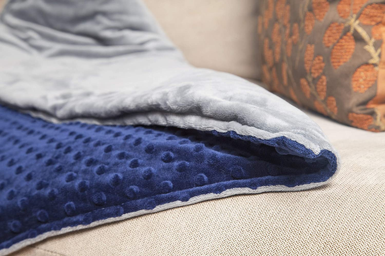 Roore 15 lb Adult 48x72 Navy Blue and Gray Weighted Blanket with Dotted Minkey Cover Perfect for Adults Men and Women for 125 to 175 lb Adult
