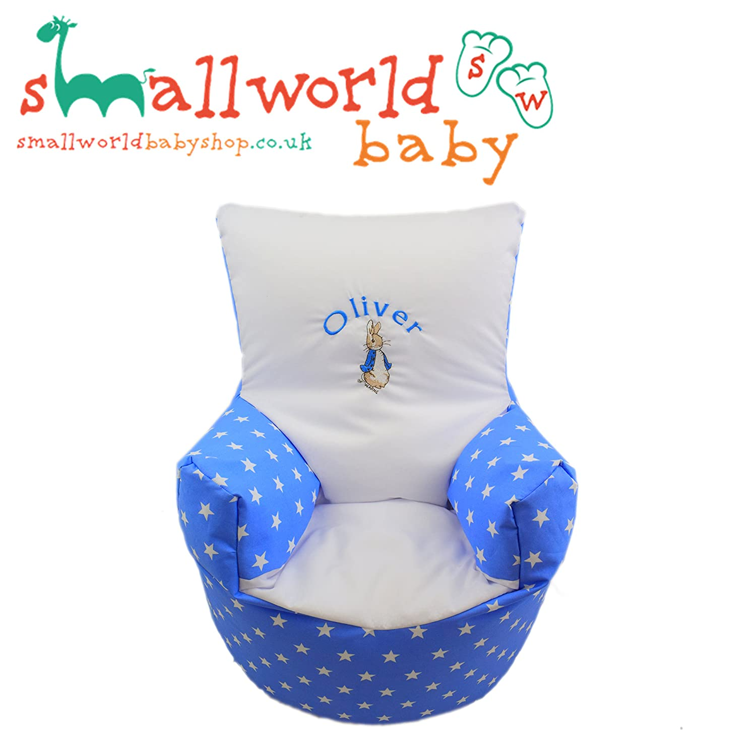 Childrens Kids Toddler PRE Filled Personalised Bean Bag Chair SEAT Girls Boys (Next Day Dispatch) Small World Baby