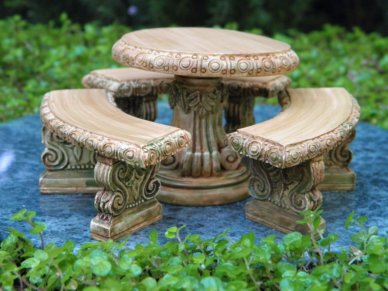 ShopForAllYou Figurines and Statues Miniature Dollhouse Fairy Garden Furniture ~ Aged Resin Table & Bench Set ~ New